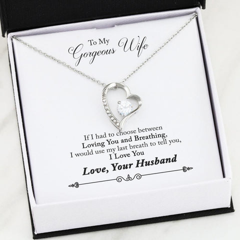 To My Wife Forever Love Heart Necklace