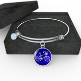 Blue Bicycle Bangle Bracelet