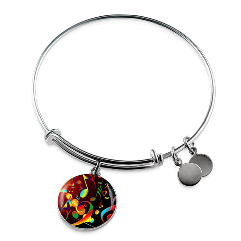 Music Note Charm Bangle Bracelet