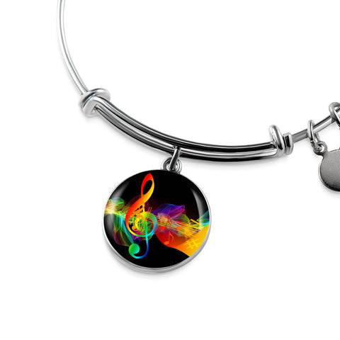 Treble Clef Charm Bangle Bracelet
