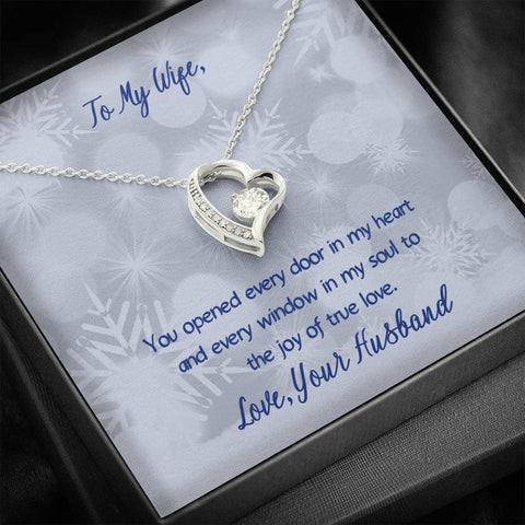 To My Wife - You Opened The Doors To My Heart - Heart Necklace with Message Card