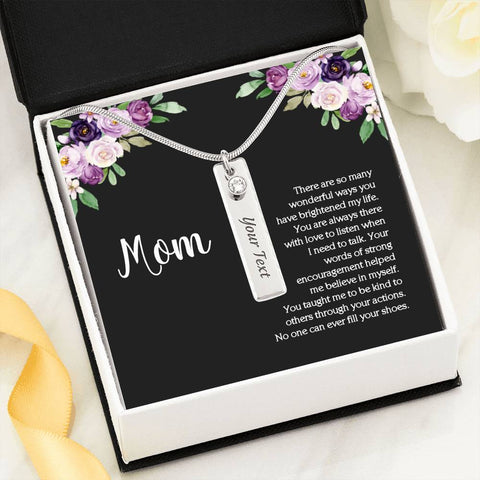 Mom Birthstone Pendant Bar Name Necklace On Floral Message Card