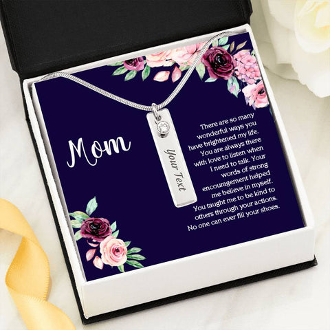 Mom Birthstone Bar Name Necklace On Blue Message Card