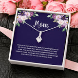Mom Message Card with CZ Pendant Necklace
