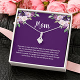 Mom Necklace on Message Card with CZ Pendant Necklace