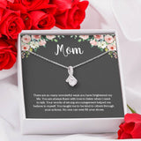 Mom Message Card Necklace with CZ Pendant