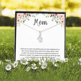 Cubic Zirconia Mom Necklace From Son Or Daughter On Message Card