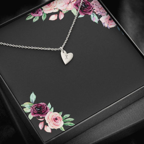 Dainty Initial Necklace With Up To Three Hearts
