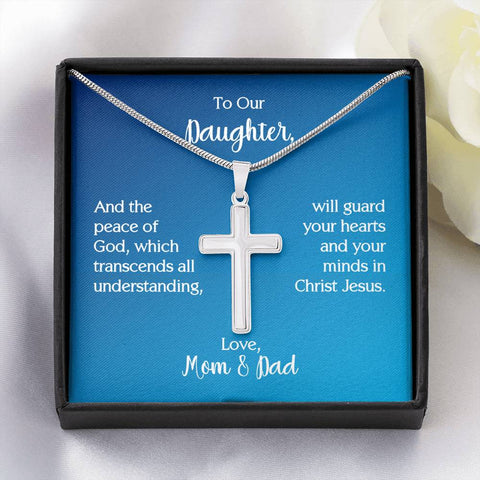 To Our Daughter Cross Necklace with Philippians 4:7 Message Card