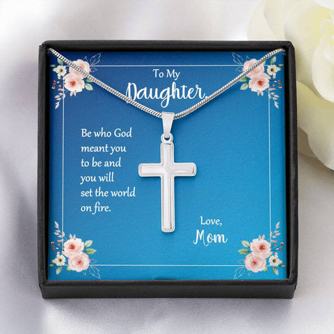 Daughter Be Who God Meant You To Be Cross Necklace Love Mom Message Card