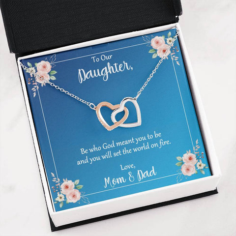 Daughter Be Who God Meant You To Be Love Mom and Dad Hearts Necklace Message Card Jewelry