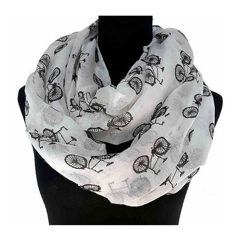 Bicycle Print Infinity Scarf