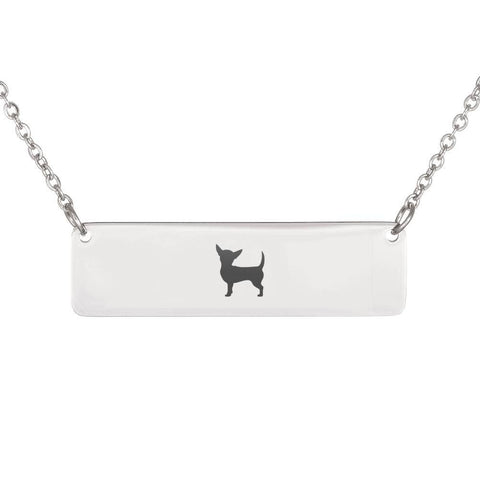 Chiweenie Horizontal Bar Necklace With Optional Personalized Engraving