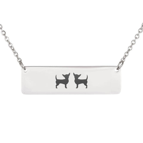 Two Chiweenies Horizontal Bar Necklace With Optional Personalized Engraving