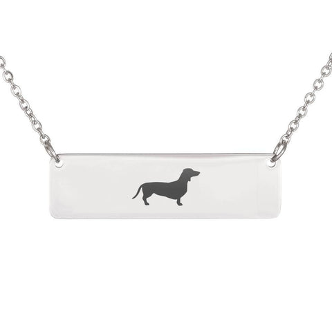 Dachshund Horizontal Bar Necklace With Optional Personalized Engraving