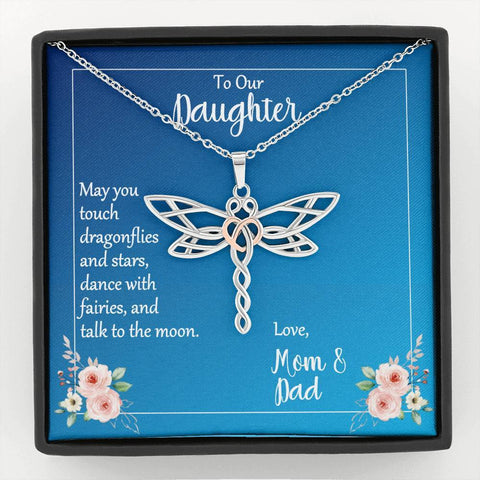 To Our Daughter May You Touch Dragonflies Necklace with Message Card