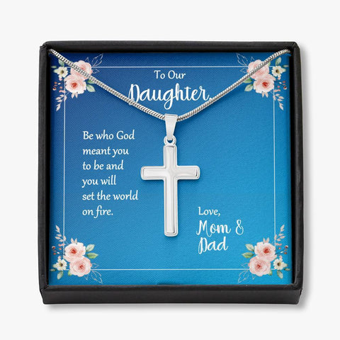 Daughter Be Who God Meant You To Be Cross Necklace Love Mom and Dad Message Card