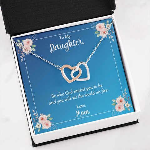 Daughter Be Who God Meant You To Be Love Mom Hearts Necklace Message Card Jewelry