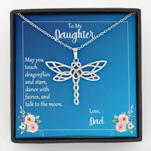 Dragonfly Necklace To My Daughter Love Dad with Message Card