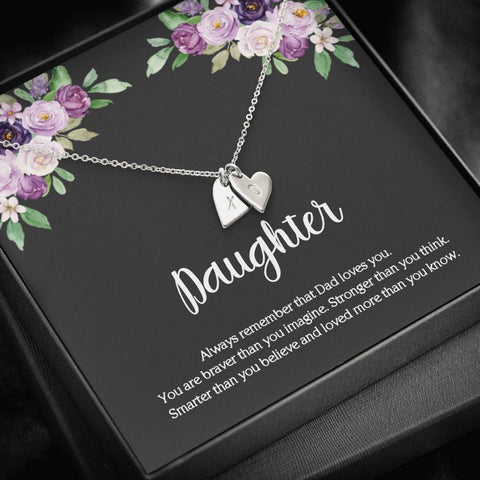 To My Daughter From Dad Initial Hearts Message Card Necklace