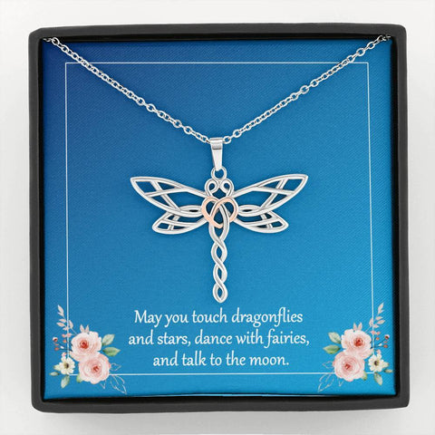 Dragonfly Pendant Necklace with Message Card