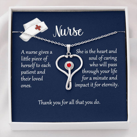 Nurse Appreciation Heart Stethoscope Necklace with Message Card