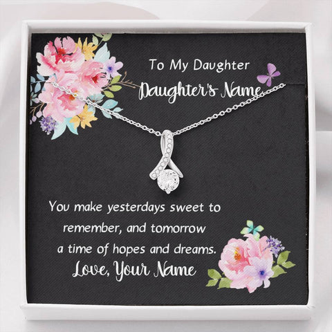 Personalized Message Card Necklace To Daughter With Her Name