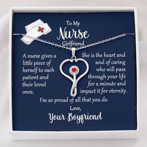 To My Nurse Girlfriend Nurse Heart Stethoscope Necklace with Message Card