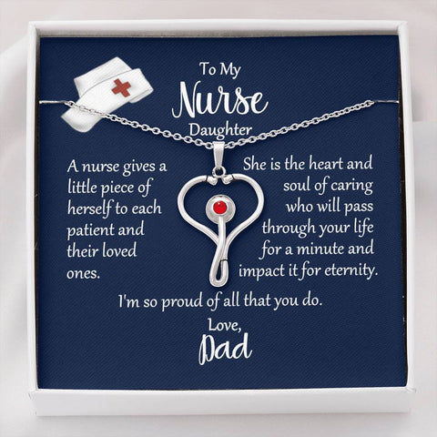 To My Nurse Daughter Heart Stethoscope Necklace Love Dad with Message Card