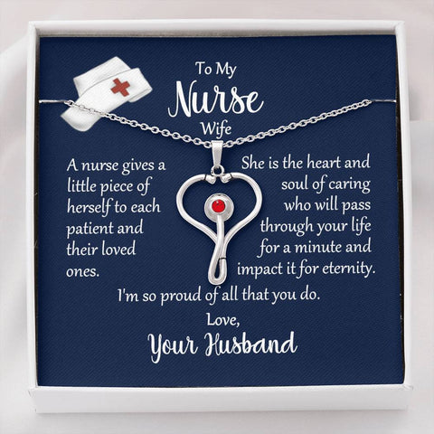 Stethoscope Heart Necklace to Nurse Wife from Husband Message Card Jewelry