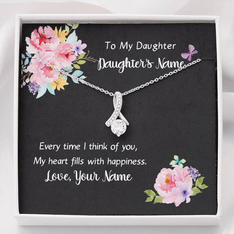 Personalized card necklace to daughter with cz pendant
