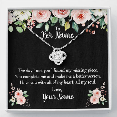 Love Knot Necklace on Card With Custom Names & You Complete Me Poem