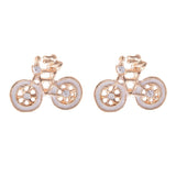Enamel Bicycle Stud Earrings