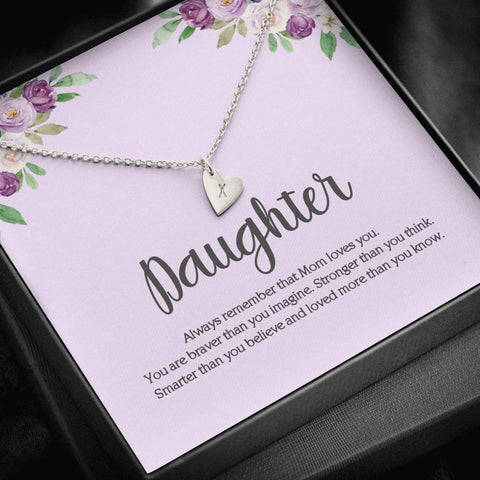 Daughter Always Remember Mom Loves You Initial Heart Charm Necklace