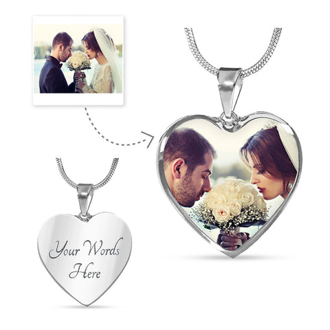 Personalized Heart Pendant Photo Necklace With Your Own Picture