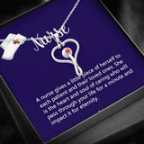 Nurse Stethoscope Pendant Necklace Card In Deep Purple
