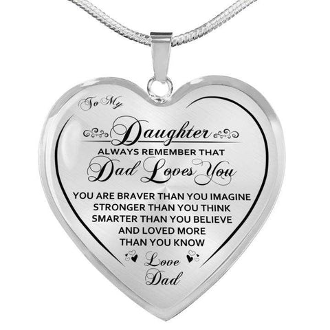 To My Daughter Dad Loves You Heart Necklace
