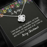 To My Wife I Love Us Love Knot Necklace Message Card Jewelry