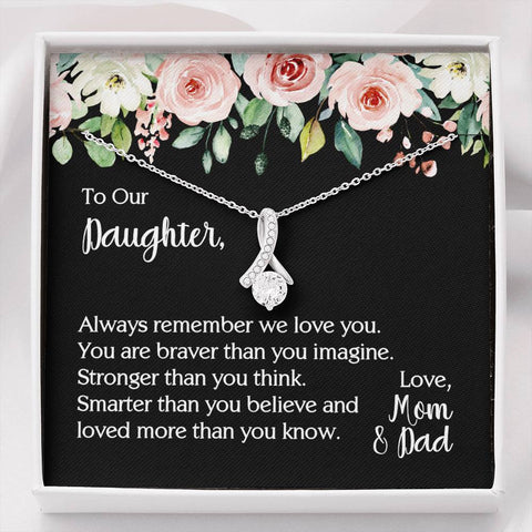 To Our Daughter Necklace From Mom & Dad - You Are Braver Than You Imagine Message Card Jewelry