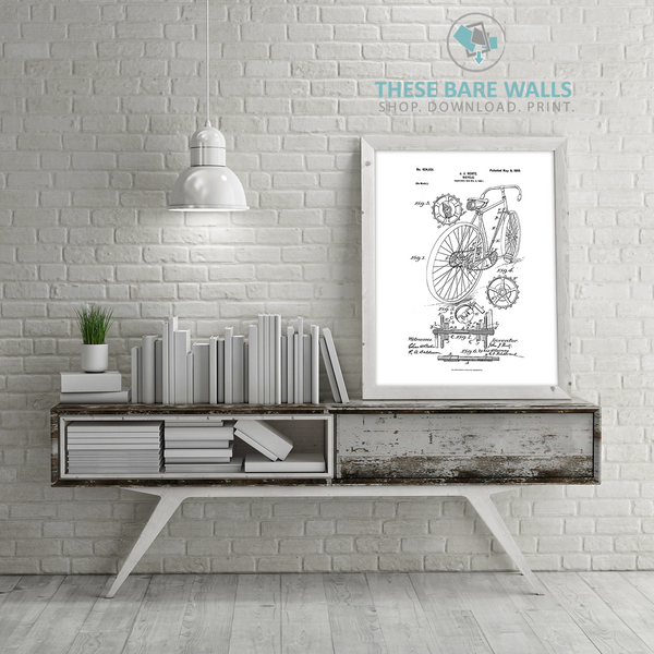 Bicycle Patent Print - Patent Art Print