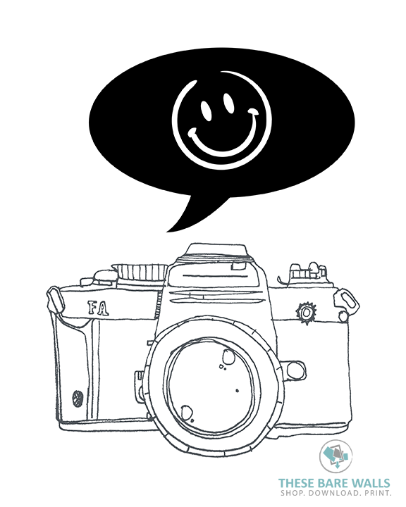 graphic about Printable Camera known as Photographer Digital camera Smiley Experience Printable Wall Artwork