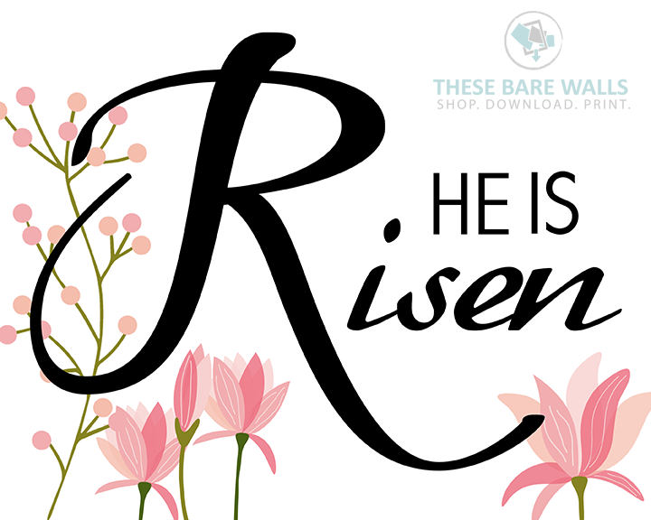 he is risen with flowers printable wall art these bare walls rh thesebarewalls com he is risen clipart black and white he is risen clipart black and white