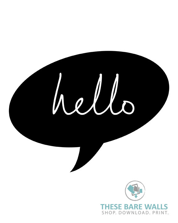 picture about Speech Bubble Printable identified as Hi there Speech Bubble Printable Wall Artwork