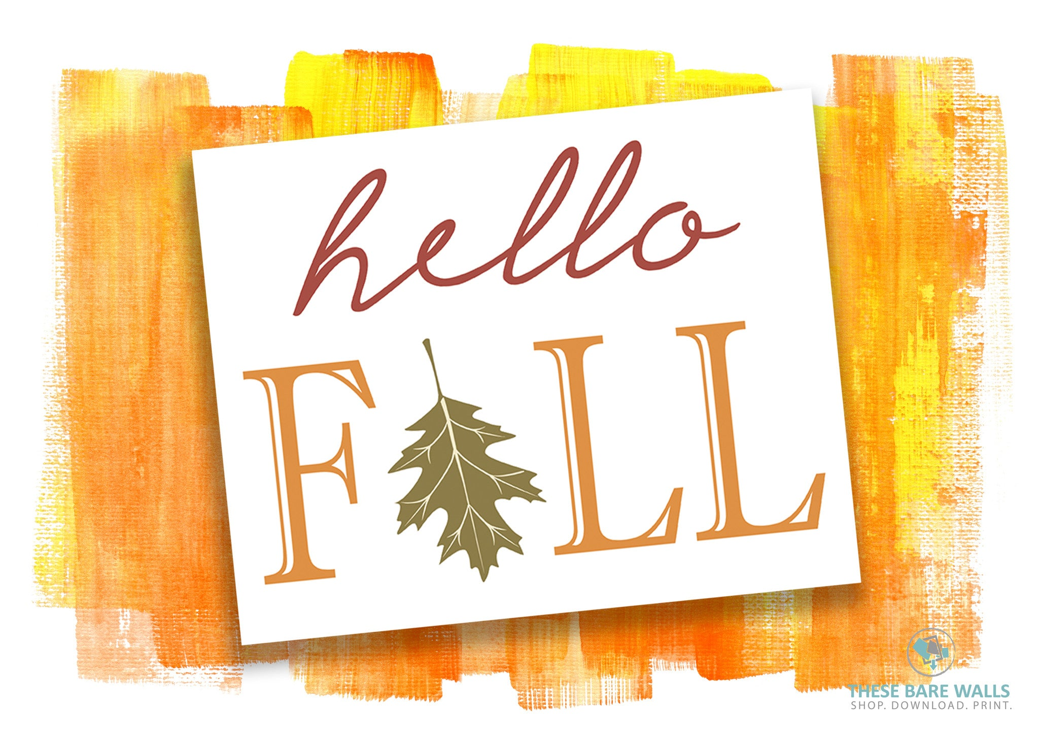 Hello Fall Printable Wall Art - These Bare Walls