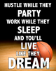 Hustle While They Party Basketball Printable Wall Art - Vertical - These Bare Walls - 2