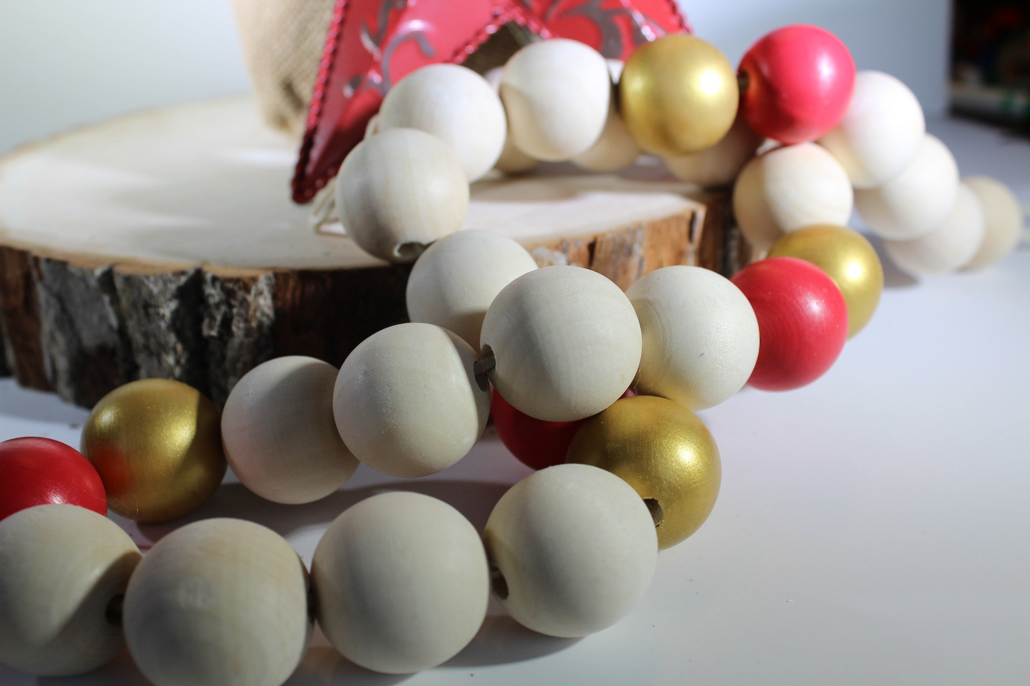 Wood Beaded Garland With Painted Beads The Topher Beaded Garland W These Bare Walls