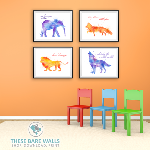 Watercolor Animals - Set of 5 - These Bare Walls - 1