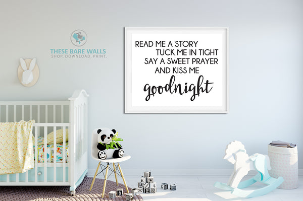 Read Me A Story Tuck Me In Tight Nursery Print - Engineering Print - Printable Art - These Bare Walls - 1