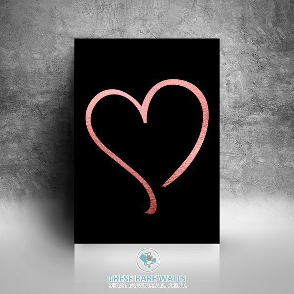 Rose Gold Heart Printable Wall Art - These Bare Walls - 1