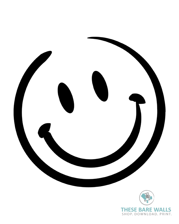 Line Drawing Of Happy Face : Smiley face printable wall art these bare walls